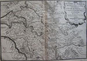 CARTE-DU-COURS-DU-RHIN-DEPUIS-RHEINBERG-JUSQU-039-A-ARNHEM-PAR-NICOLAS-DE-FER-1705