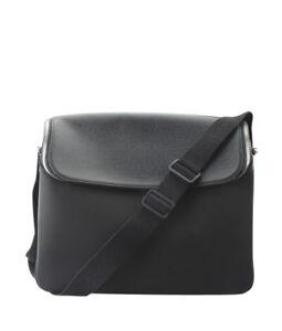 c5ee1accc2a3 La foto se está cargando Louis-Vuitton-Taimyr-Taiga -Cuero-Bandolera-Bolso-Negro