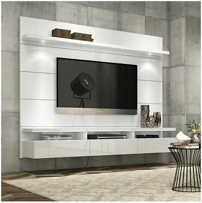 Floating Tall Entertainment Center Tv Stand Wall Unit 70 Inch Screen Mount White Ebay