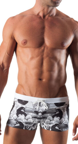 Geronimo Mens Swimwear Attractive Black Boxer Trunks Floral Animal Swimming Suit