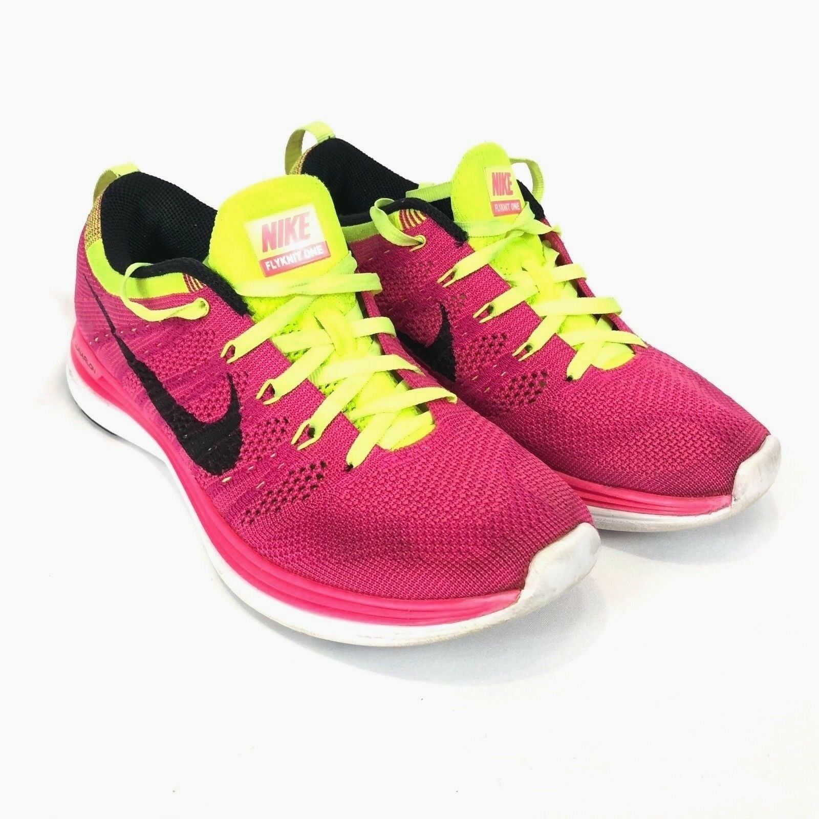 Nike Women Running Shoes Flyknit One Lunarlon  Pink Yellow Comfortable best-selling model of the brand