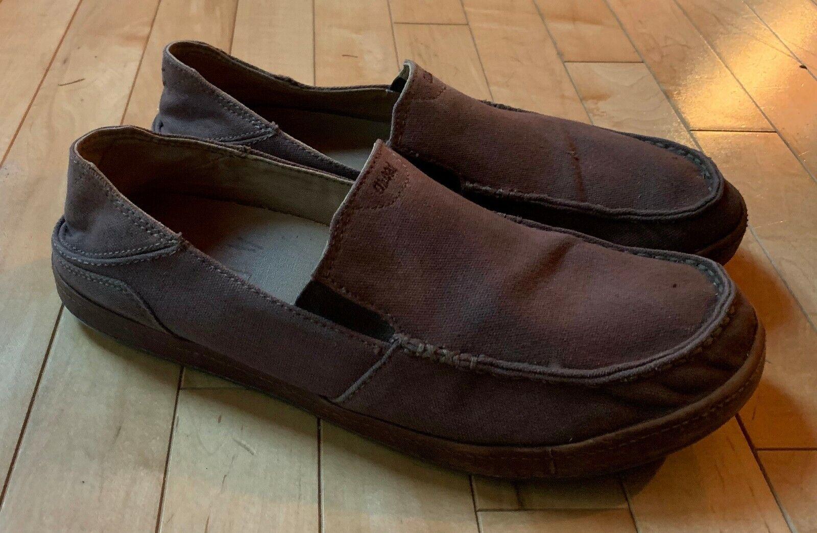 OluKai Mens Manoa Slip on Shoes Clay