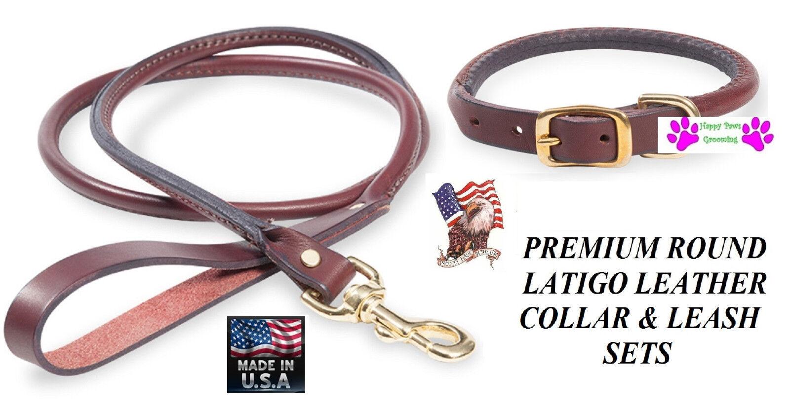 USA Herstellung Latigo Leder Gerollt Rund Hund Collar&leash Set Premium Robust     | Smart