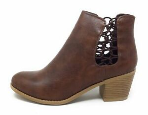 Brinley-Co-Womens-Deja-Pull-On-Ankle-Boots-Brown-PU-Leather-Size-8-M-US