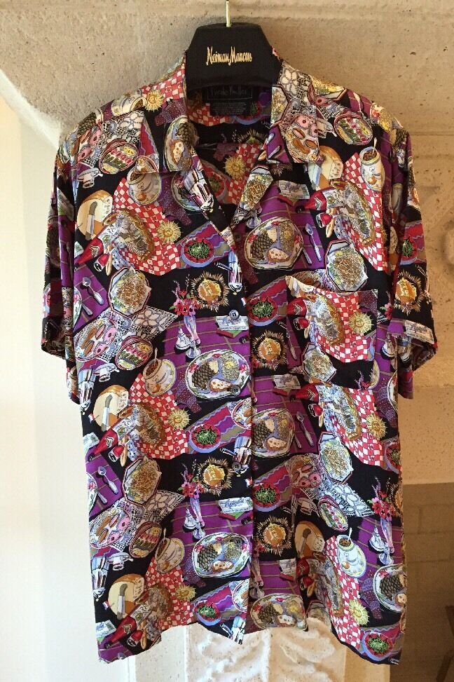 Nicole Miller Limited Edition Vintage Food And Wine Motif Silk Blouse Größe L