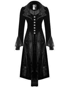 Punk-Rave-Jacket-Frock-Coat-Black-Velvet-Gothic-Steampunk-VTG-Victorian-Regency