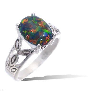 Oval Cut Black Fire Opal Leaf Petal Genuine Sterling Silver Ring , Sizes 3 - 12    eBay
