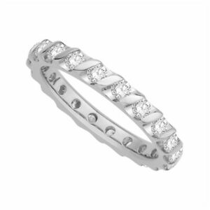 1.00 Ct Certified Moissanite 14K Real White Gold Engagement Bridal Eternity Band