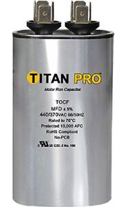 Titan Tocf5 5 Mfd 440 370v Dual Rated Oval Run Capacitor