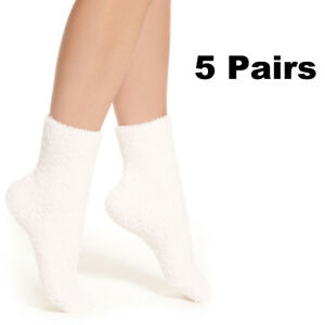 5-Pairs-White-Womens-Soft-Cozy-Fuzzy-Winter-Warm-Slipper-Socks-Santa-Xmas-Socks