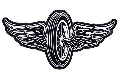 JUMBO 11 IN FLYING MOTORCYCLE WHEEL WINGS JACKET BACK PATCH JBP80 new patches
