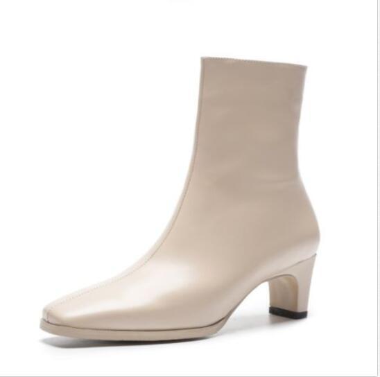 Fashion Women's Leather Square Toe Block Heels Heels Heels Ankle Boots Autumn Zip shoes @BT0 d003c7