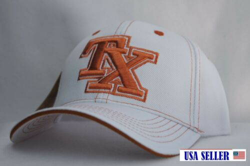NWT TX BOLD INITIAL/'S CONTRAST COLOR BASEBALL CAP WITH ADJUSTA BACK WHITE//ORANGE