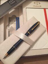 PARKER URBAN MATT BLUE GT FOUNTAIN PEN & NOTE BOOK DELUXE GIFT SET-BLUE INK