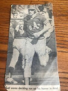 JOE RUDI Autographed Newspaper Clipping Oakland A's 1970's