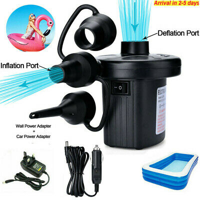 Electric Air Pump Inflator for Inflatables Camping Bed pool 240V//12V Car home UK