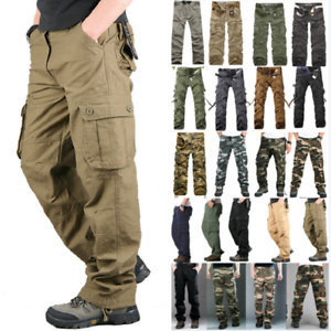 Men-039-sCombat-Cargo-Army-Military-Tactical-Work-Pants-Camo-Trousers-Multi-Pockets