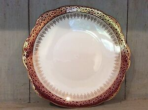 VINTAGE-DUCHESS-RED-AND-GOLD-BONE-CHINA-Cake-Sandwich-Plate