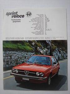 ALFA ROMEO  Alfasud  Sprint Veloce    brochure/Prospektblatt  06-1979.