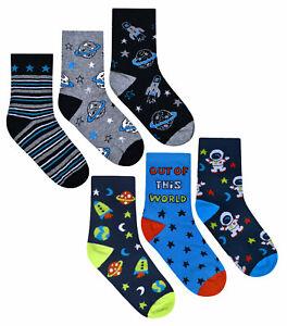 Boys Socks 3 Pairs Kids Ankle Socks Space Print 3 PACK UK Size 6-8.5 9-12  12-3.5   eBay