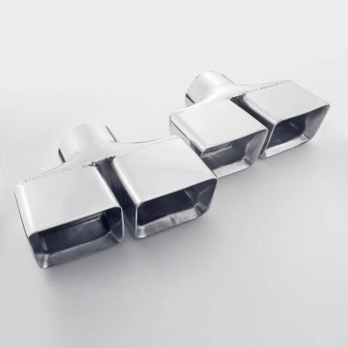 """Pair 3/"""" Inlet Exhaust Tips Dual Rectangle Staggered Slant Cut Stainless Steel"""