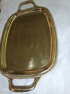 Vtg-Solid-Brass-Vanity-Serving-Tray-Handles-Barware-Floral-Design-Handles