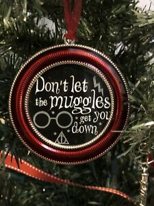 """Harry Potter Saying Round Red 3/"""" Metal Ornament Mischief Managed Black 1B"""