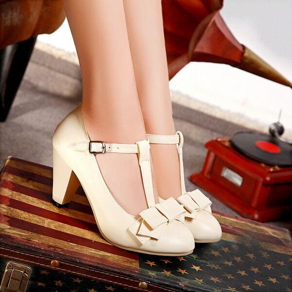 2016 Womens Kitten Hight Heel T Strap Bar Vintage Pumps Plus Size shoes Wedding