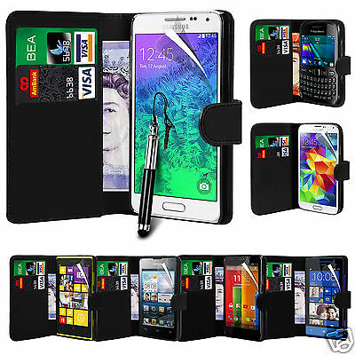 Black PU Leather Wallet Flip Case Cover & Screen Film & Pen For Various Phones