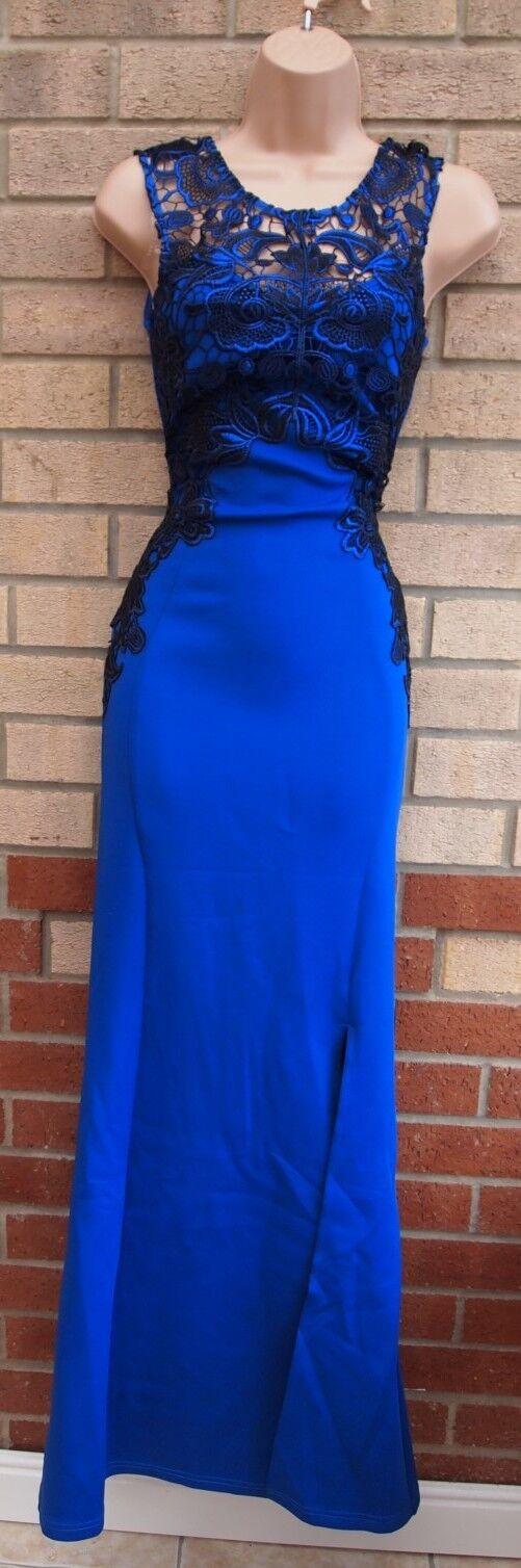 LIPSY Blau 1 SPLIT schwarz CROCHET LACE INSERTED FISHTAIL LONG MAXI DRESS 8 S
