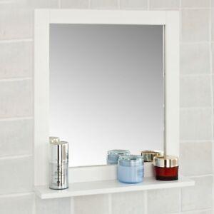 SoBuy® Specchio da Bagno con mensola, Scaffale da parete,bianco ...