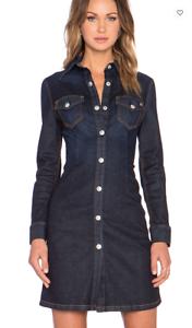 NEW NWT Alexa Alexa Alexa Chung for AG Lonestar Pixie Denim Shirt Dress Top Stitch  325 XS c7686a