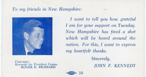 1960 John F Kennedy New Hampshire Primary Thank You Card