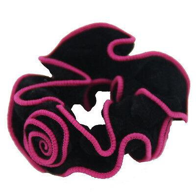 2PCS Spanish Rose Flower Velvet Hair Scrunchie Ponytail Holder Hair Accessories