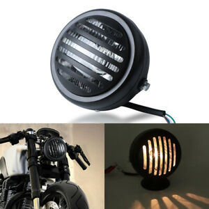 Motorcycle High//Low Beam Head Light Headlight for Harley Honda Yamaha Kawasaki Suzuki Cruiser Bobber Cafe Racer Old School Chopper Touring Atv Scooter Offroad black
