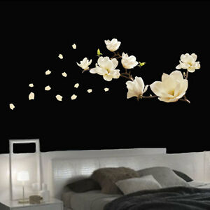 Details About Beautiful White Magnolia Flower Wall Art Sticker For Living Room Bedroom Decor
