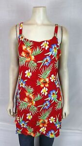 Bali-Girl-Red-Orange-Blue-Beach-Cover-Tunic-Top-Dress-Women-039-s-Size-Medium-large