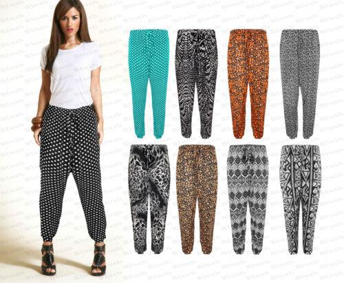 New Womens Plus Size Plain Leapard Marble Baggy Harem Pants Trousers Leggings