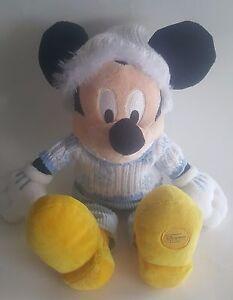"Disney Store Exclusive Mickey Mouse Snowflake Sweater Plush Stuffed Animal 15"""