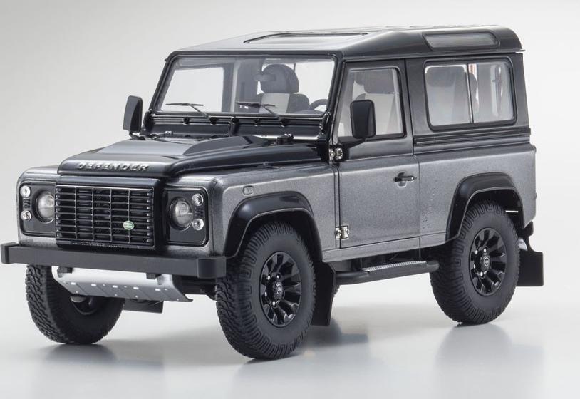 1 18 Kyosho Land Rover Defender 90 corris grigio nero Diecast nero grigio 08901CGR