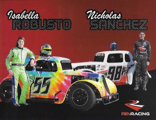 """2017 ISABELLA ROBUSTO /& NICHOLAS SANCHEZ /""""REV RACING/"""" #55//98 NON NASCAR POSTCARD"""