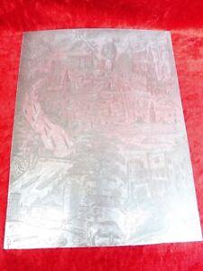 schone-alte-Druckplatte-Stadtansicht-original-Unikat-vom-Kunstler