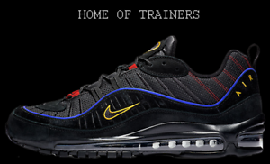 Nike Air Max 98 Black Blue Red Yellow Men s Trainers All Sizes  65f74e3f9