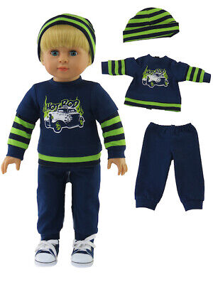 "Green Froggy Outfit  Pant Set  Fits 18/"" American Girl or Boy Doll 3pc"