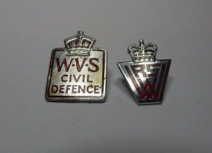 2-W-V-S-amp-W-R-V-S-Civil-defence-badges-kings-and-queens-crown
