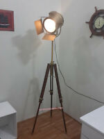 AntiqueTheater  Floor Lamp Wooden Tripod Modern Look Spotlight Nautical Light