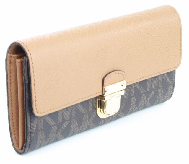 4b516453dfd1 Michael Kors Bridgette Purse Wallet Brown Acorn Saffiano Leather Large