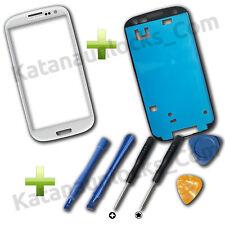 Bildschirm Glas für Samsung Galaxy S3 i9300 SIII Weiß + Werkzeuge und Klebe