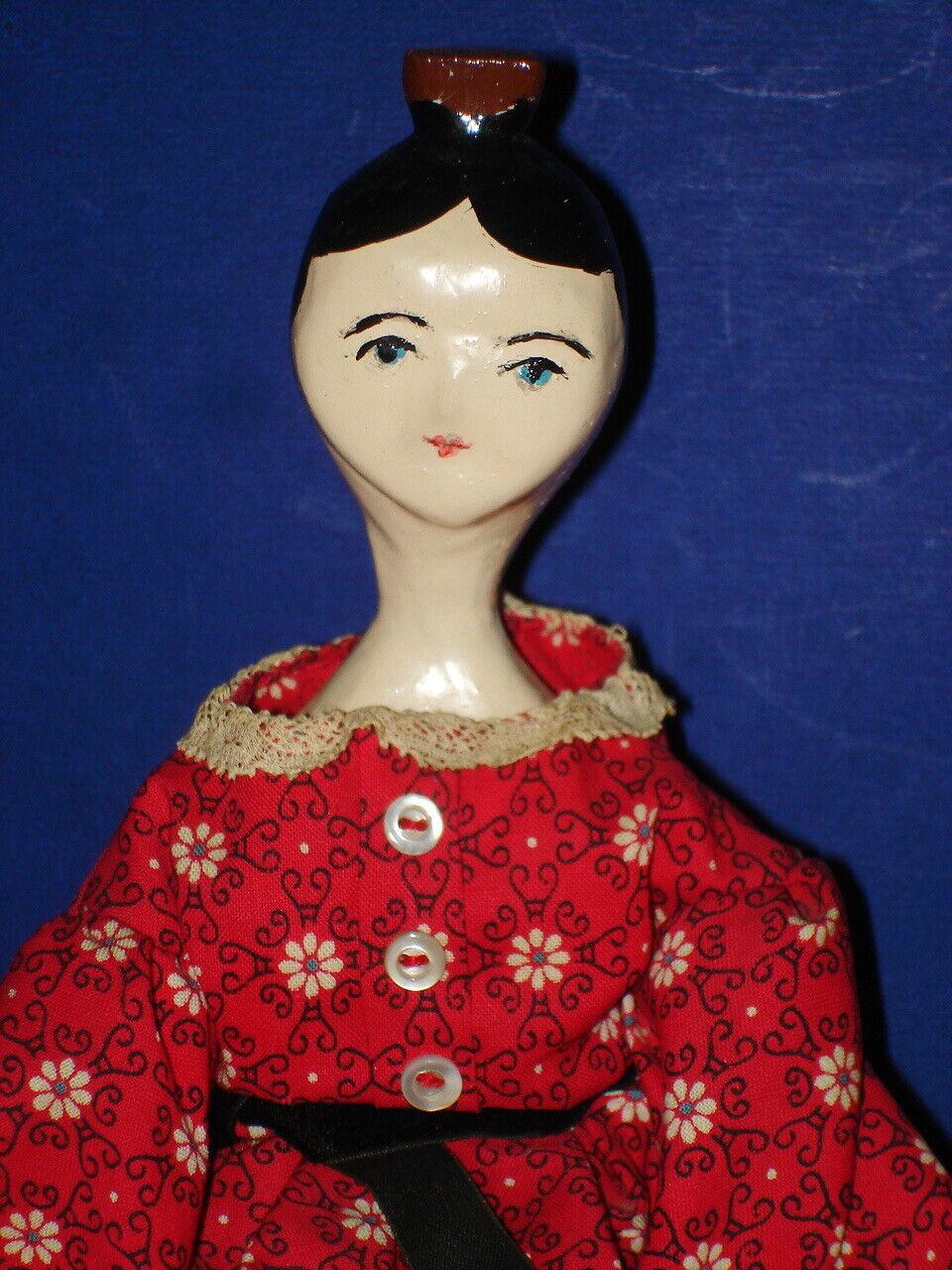 Artist 14.5  Peg Wooden Doll Possbily A McCalls Pattern Inspirot Doll 1950s-on