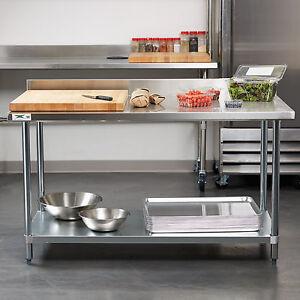 30 quot  x 60 quot  stainless steel work prep shelf table backsplash